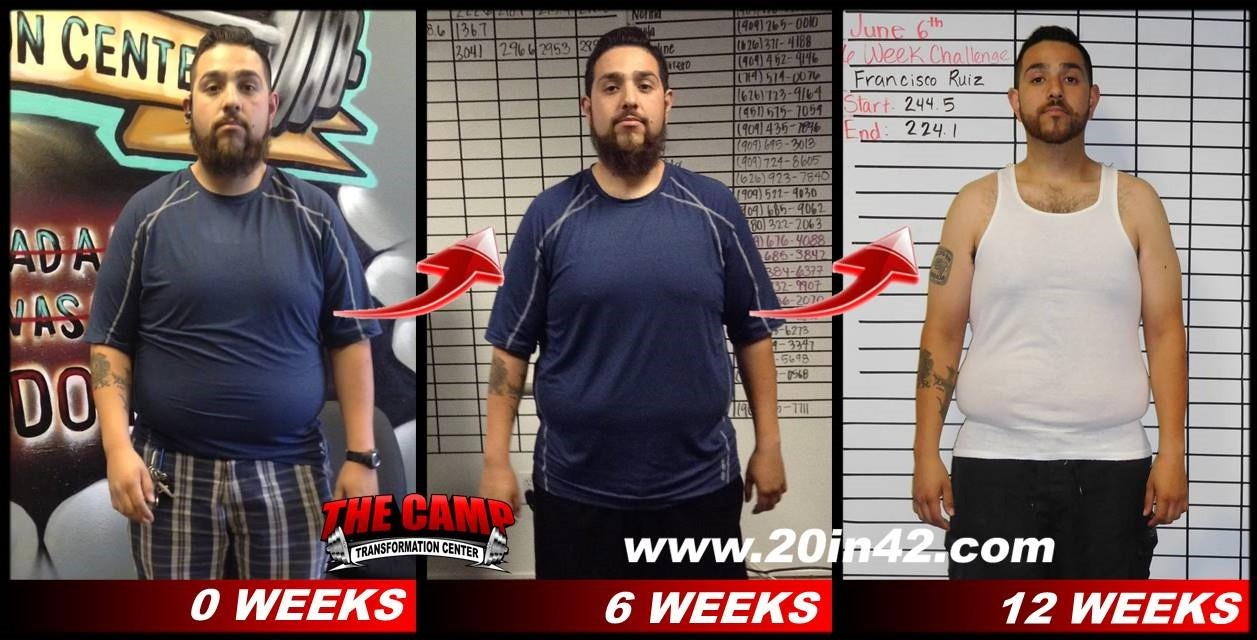 3 images of a different man facing forward, comparing his weight loss after 6 weeks and 12 weeks