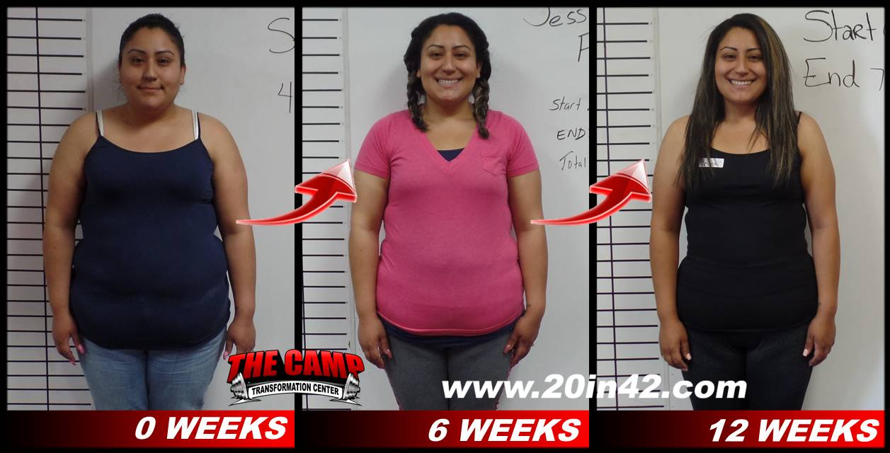 three images of a woman, facing front, showing weight loss after 6 weeks and 12 weeks in weight loss program