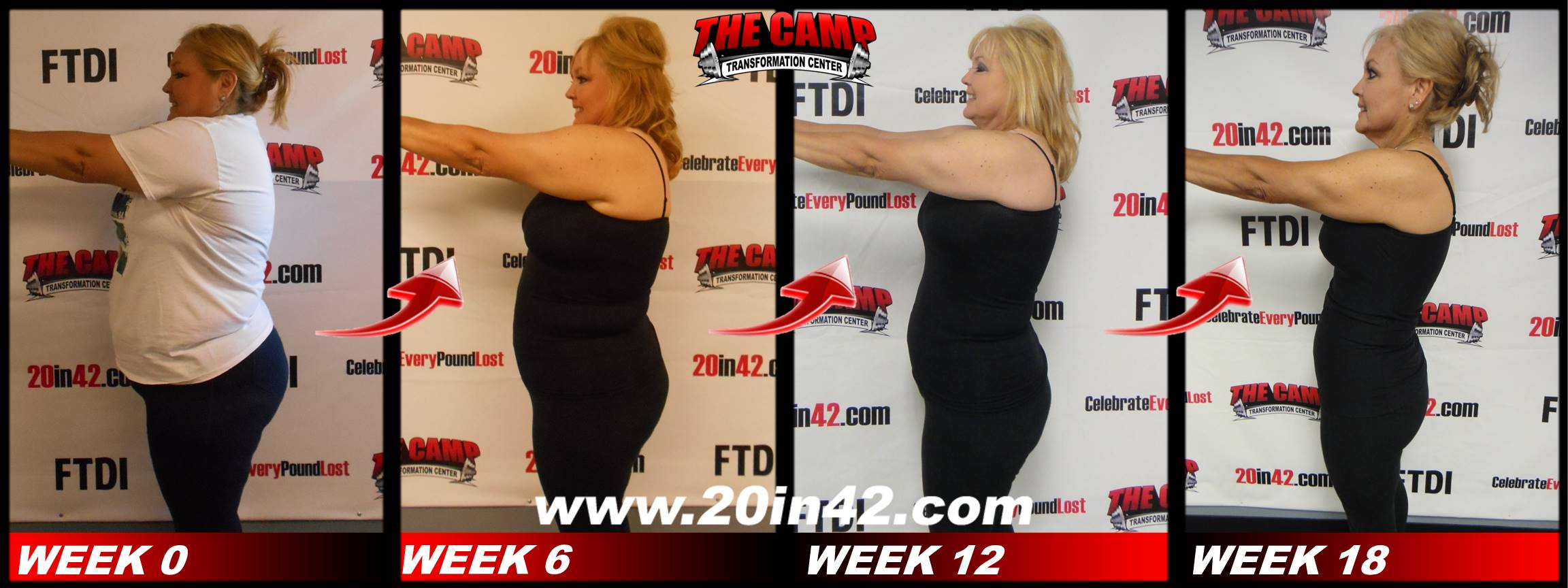 4 profile images of the same woman as in previous pictures, showing her weight loss after 6 weeks, 12 weeks, and 18 weeks in the weight loss challenge program